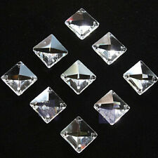 20pcs 14mm 4 holes Clear Square Crystal Beads Prisms Chandelier Lamp Chain Parts