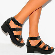 NEW WOMENS GIRLS GLADIATOR CUTOUT SANDALS PLATFORM CHUNKY BLOCK HEEL SNAKE SIZE