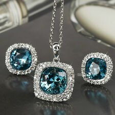 18k white gold gf made with SWAROVSKI crystal blue stud earrings necklace set