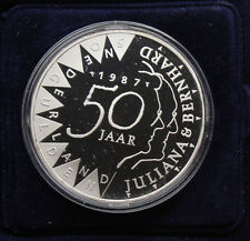 1987 Netherlands Utrecht 50 Gulden Silver GEM Proof Coin KM #209 Golden Wedding