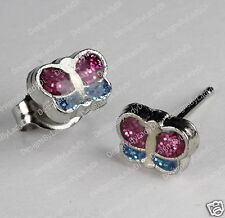 Studex Silver Earrings Tiny Tips Hypoallergenic 6mm Glitter Butterfly Stainless
