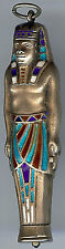 ANTIQUE DECO KING TUT ERA SILVER ENAMEL EGYPTIAN PHARAOH FIGURAL PENCIL PENDANT