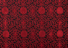 "28""  TIBETAN DAMASK JACQUARD BROCADE FABRIC : FLORAL DORJE LOTUS, RED & BLACK"