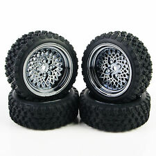 For 1:10 HSP HPI RC Rally Racing Off Road Car 4 Pcs Rubber Tires Wheel Rim #344