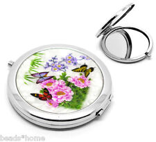 "Mini Portable Butterfly Flower Pattern Make Up Compact Mirror 7.7x7cm(3""x2-3/4"")"