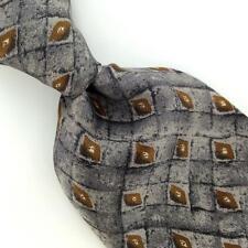 GEOFFREY BEENE US MADE DIAMOND GRID GRAY Silk Men Necktie I4-331 Excellent Ties