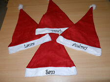 A personalised embroidered santa christmas hat - fab for party / keepsake gift