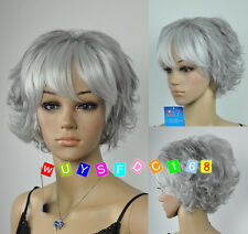 New Fashion ladies Short Grey mixed Party Curly hair Wigs+wig cap