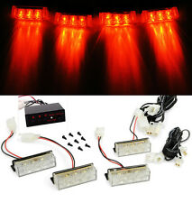 12 Red LED Car Truck Grille Emergency Warning Flash Strobe Lights Lamps Blocks