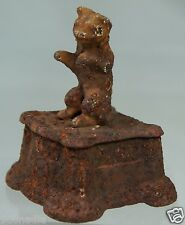 ANTIQUE METAL SMALL RUSSIAN BEAR FIGURINE STATUE ON STAND