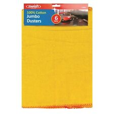 6 x Yellow Jumbo Large Pure Cotton Polishing Cloth Clean Dusters
