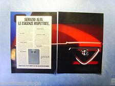 QUATTROR991-PUBBLICITA'/ADVERTISING-1991- ALFA ROMEO - SERVIZIO ALFA -2 fogli