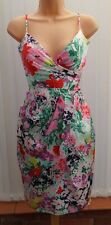 COAST MARIELLA RED PINK PURPLE FLORAL SILK FAUX WRAP DRESS 14 ONCE £135