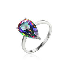 New Genuine Mystic Fire Rainbow Topaz Ring Solid 925 Sterling Silver Pear Size 8