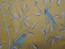 Sanderson Curtain Fabric 'Finches' Yellow 3.75 METRES (375cm) 100% Cotton Glaze