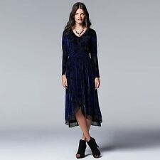 NEW Simply Vera Wang Black & Blue Burnout Velvet High-Low Dress Size Small $78