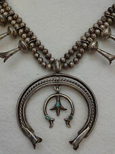 Vintage NAVAJO Sterling Silver SQUASH BLOSSOM NECKLACE Double Naja Turquoise Inl