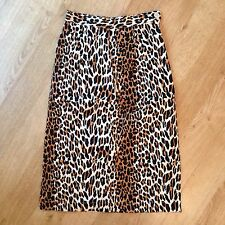 UK 6 XS 1950s Vintage High Waist Leopard Print Cotton Pencil Wiggle Skirt