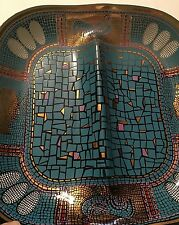 Platter Decorative Mosaic Pattern Chicken And Eggs Turquoise/Gold