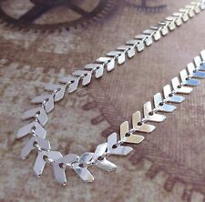 Silver Plated Chevron Chain,  fish bone chain, fancy chain 1 meter