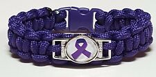 Lupus & Fibromyalgia Purple Handmade Paracord Bracelet with Purple Ribbon Emblem