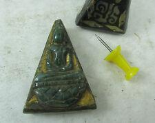 seltenes altes JADE Buddha Amulett mit 19 Perlmutt Intarsien Thailand ca. 1965