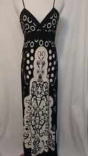 FOREVER Womens Size MED Black Stretch White Empire Waist Maxi Dress back tie 0