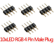 10 x 4-Pin Male Plug Adapter Connector for RGB 3528 5050 LED Strip Light Connect