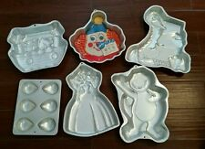 6 Wilton cake pans Barney Barbie Big Bird Clown balloon bears ark