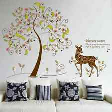 Tree, Stag, Deer, Flower Wall Stickers. Nursery, Bedroom, Nursery, Kitchen, Girl