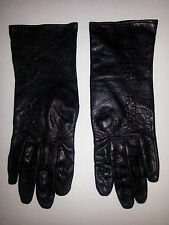 VOGUE MONT LADIES BLACK LEATHER GLOVES RAYON TRICOT LINING SIZE 7.5