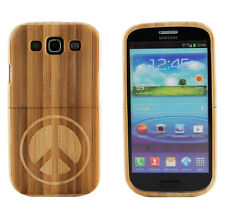 Samsung Galaxy S3 III Genuine Bamboo Engraved Inverse Peace Sign Wood Hard Case