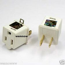2 x  Ground Plug Adapter 3 Prong to 2 AC Electrical Outlet Grounding Polarized