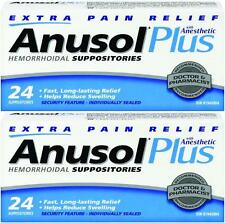 ANUSOL PLUS EXTRA RELIEF 2 BOXES ANESTHETIC HEMORRHOID SUPPOSITORIES - 48 TOTAL