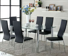 7PC KALAWAO GLASS TOP CHROME FINISH METAL DINING TABLE SET BYCAST LEATHER CHAIRS