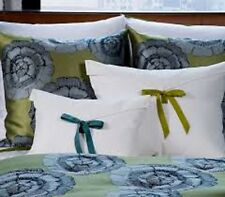 """$350! NWT Ann Gish SET of 2 Linen KING Shams w/ Ties """"Almost White with Lime""""!"""
