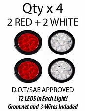 "4"" Inch 12 LED Round Stop/Turn/Tail Truck Light w. Grommet+Wiring: 2 Red 2 White"