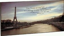 "EIFFEL TOWER, The Name Of The Lord Is A Strong Tower, Wood Sign, 36"" x 18"""