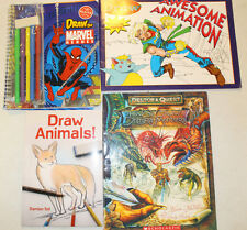 LOT-4 LEARN TO DRAW MARVEL HEROES ANIMATION DELTORA MONSTERS ANIMALS KLUTZ SUPER