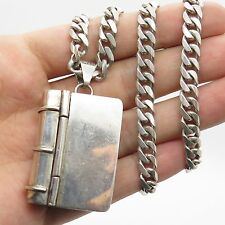 Mexico Antq 925 Sterling Silver Large Book Design Pill Box Chain Necklace 16""