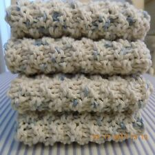 WHITE & BLUE FLECKS HAND KNITTED DISH CLOTH OR FACE CLOTH