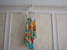 NWT JANIE AND JACK GIRLS CORSAGE FLORAL SWIMSUIT 7 TEAL FLORAL