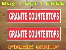"White on Red GRANITE COUNTERTOPS 6""x24"" REAL ESTATE RIDER SIGNS Buy 1 Get 1 FREE"