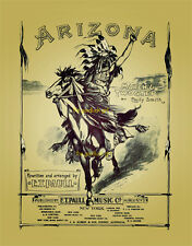 1901 Native American ARIZONA Indian 8x10 vtg sheet music E.T. Paull Art print