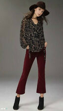 New $118 ANTHROPOLOGIE PILCRO WINE RED STET CROP CORDS CORDUROY FLARE JEANS 32