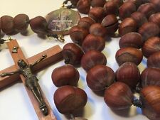 "Vintage OOAK Large 36"" Handmade Rosary Made With Chestnuts"