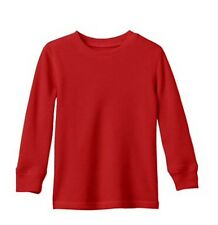 NEW Toddler Boy Jumping Beans Solid Thermal Tee In Red 2T