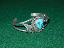 Vintage Sterling Silver & Turquoise Cuff Bracelet Thomas Antique Old