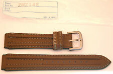 Seiko NOS Mens Brown/Olive 16mm  Leather Strap/Silver Buckle