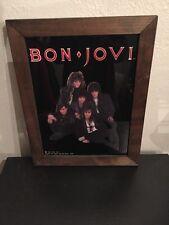 Vintage Bon Jovi 19x15 Glass & Wood Framed Band Picture 1987